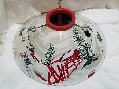 Antique RETRO Tree Stand Metal OLD Christmas Litho VINTAGE Painted