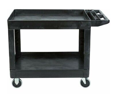 Commercial Products Heavy-Duty Utility Cart, Flat Handle, 2 Lipped Shelves, Med