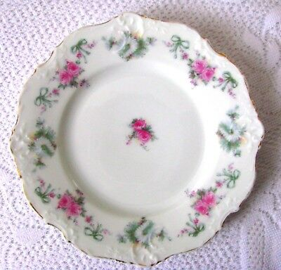 Hermann Ohme Elysee Tea Plate Pink Roses Blue Ribbons Bread & Butter Plate 1920s