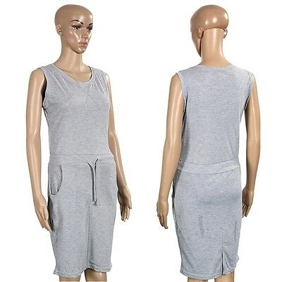 Women Grey Sleeveless Knee-Length Sports Casual Solid Cozy Dress Short Pencil B