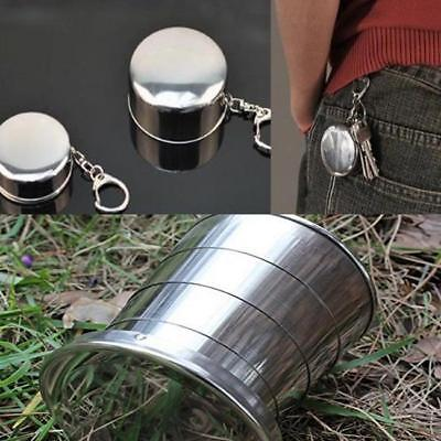 Stainless Steel Folding Cup Telescopic Collapsible Outdoor Travel Camping Cup B