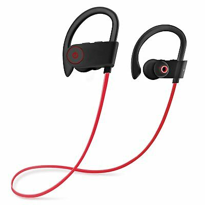 Wireless Bluetooth Headset Headphones Sport Sweatproof Stereo Earbuds in Ear Red