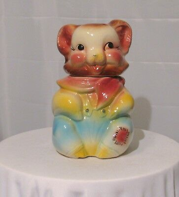Vintage Bear Cookie Jar In Yellow Red Blue Clothes