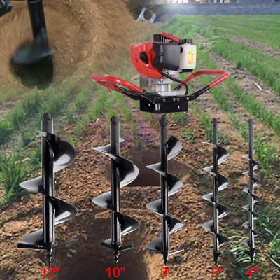 """52cc GasS Power Earth One Man Post Fence Hole Digger DrillL Bits 4"""" 6"""" 8"""" 10""""12"""""""