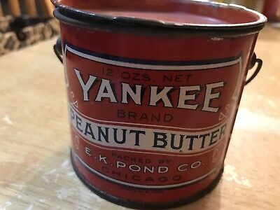 Yankee Brand Peanut Butter Advertising Tin Litho with Lid & Bale Handle, 12 Oz.