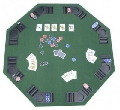 "48"" Green Portable Folding Poker & Blackjack Table with built in drink tray"