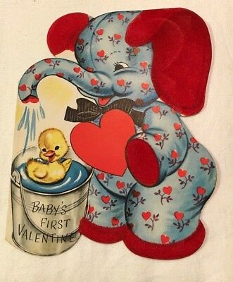 Vintage Baby's 1st Valentine - FLOCKED -Whitman - Elephant - Used/Signed