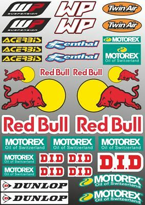 WP Motorex Renthal Dunlop Decal Sheet Sticker Graphic Set Logo Adhesive 33Pc