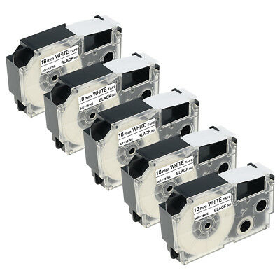 5PK XR-18WE Compatible for Casio EZ Printer 3/4'' Label Tapes Black on White18mm