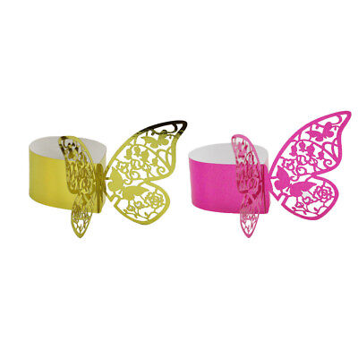 100Pcs Tissue Ring Butterfly Tovagliolo Buckle Home Wedding Decor Golden