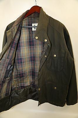 #92 Barbour 'New Utility' Regular Fit Waxed Cotton Jacket Size L   OLIVE GREEN