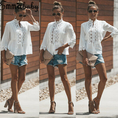 Emmababy Women Casual Long Sleeve Cotton Blouse Shirt Loose Button Up Tunic Top