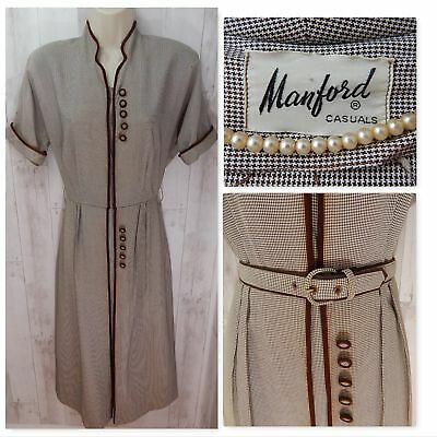 1930s~ANTIQUE Dress/Gown Brown/Ivory Houndstooth Boxpleat Vintage 36x25x34