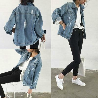 Women Casual Denim Vintage Jean Jacket  Long Sleeve Loose Coat Sizes S M L B