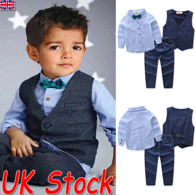 UK Baby Kid Boys Suits 4Pcs Formal Toddler Waistcoat Suit Wedding Party Outfits