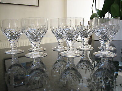 "Stuart Crystal Carlingford Goblet Wine Water 5"" Glasses x 8 Ex.Con Sparkling"