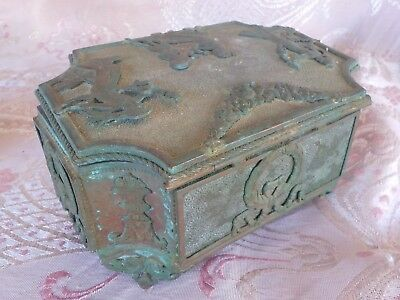 Antique Egyptian Bronze highly detailed trinket jewellery box, with old trinkets