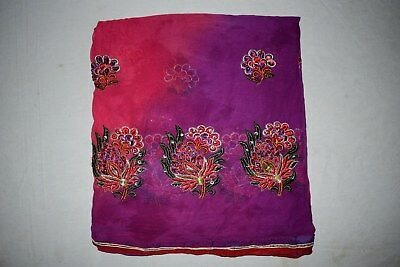Vintage Women Shawl Party Wear Embroidered Stole Georgette Dupatta Veil L""