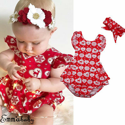 AU 2PCS Set Christmas Baby Girls Kids Xmas Red Romper+Headband Party Costume
