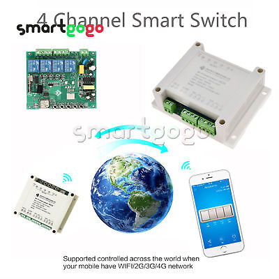 4CH Channel Remote Ctrl Smart WiFI Switch APP Home Automation Relay BSG