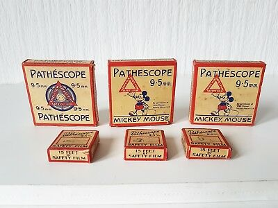 Vintage 1930'S Lot Of Pathescope 9.5 Film Including Mickey Mouse Etc