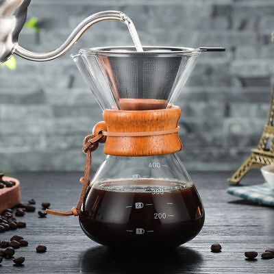 Glass Coffee Maker Chemex Style Coffeemaker Pour Over Coffee Pot + Wood Collar