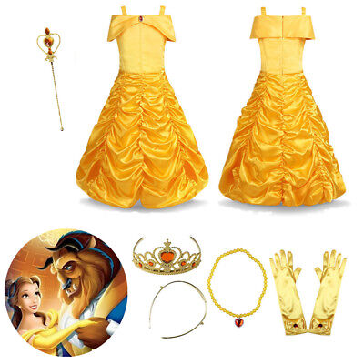 Children Girls Beauty And The Beast Kids Princess Belle Dress Up Set B1 Dresses Kids' Clothing, Shoes & Accs