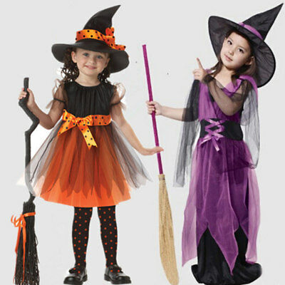 2018 Girls Dress Halloween Fancy Outfit Miko Kid Sorceress Witch Cosplay Costume