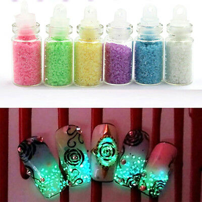 8Pcs/Set Nail Noctilucence Powder Glow In The Dark Fashion Style Party Supply