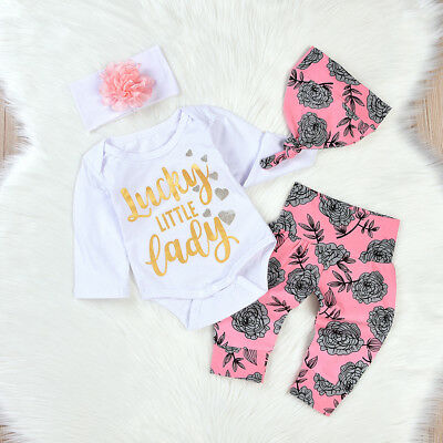 4Pcs Set Baby Clothing Floral Newborn Baby Girl Tops Romper+Pants+Hat Outfits AU
