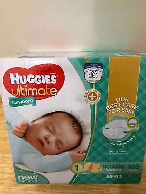 Huggies Ultimate Nappies - Newborn (up to 5kg) (108 pack)