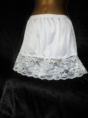 Stunning vtg silky  semi sheer   mini  half slip  lace  34 to 50 waist  20/22