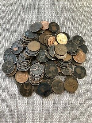 JOB LOT COLLECTION 117 VINTAGE OLD ONE PENNY 1D COINS 1860's-1960's