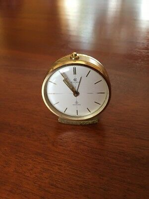 Vintage 1950s Cyma Brass Sonomatic Swiss Desk Travel Alarm Clock Working Jewels