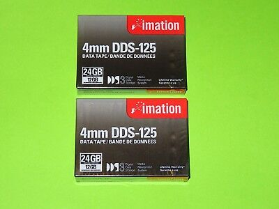 imation 4mm DDS-125 Data Tape (12 / 24 GB) x 2 - NEW sealed