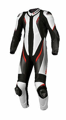 Dainese Aspide One 1 Piece Leather Motorcycle Motorbike Suit White Red SALE