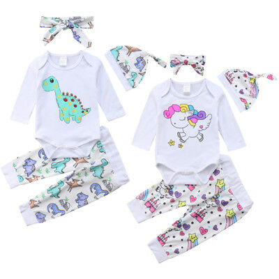 4dacf2a07568 AU Unicorn Dinosaur Newborn Baby Boy Girl Tops Romper Pants 4Pcs Outfits  Clothes
