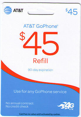AT&T Prepaid Go Phone $45 Refill Card - Fast Email / Ebay Massage Delivery