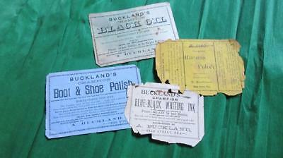 1890's Circa Buckland's High St. Yea Champion Blue-Black Writing Ink Black Oil.