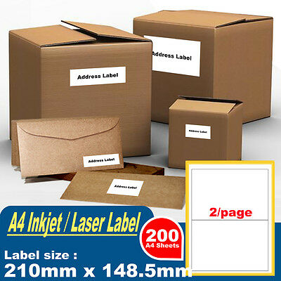 200 Sheets 2 Labels Per Page 400 Labels 210x148.5mm A4 Office Mailing Labels