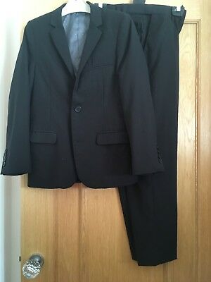 Boys Black suit age 11-12 M&S Autograph with blue shirt