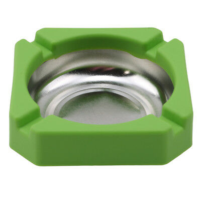 STAINLESS STEEL SQUARE CIGARETTE ASHTRAY ASH TRAY FOR HOME HOUSE CAFE Green B