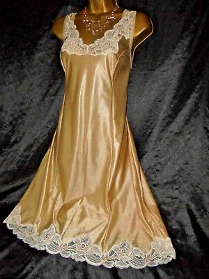 Stunning vtg silky gloss nightie dress slip negligee nightdress gold  42 bust
