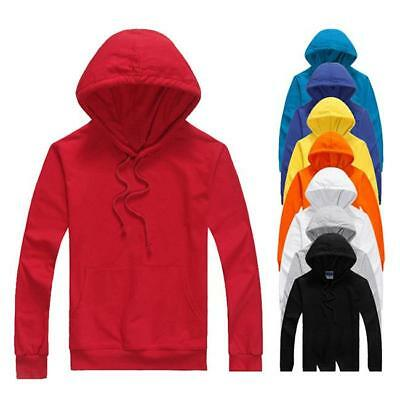 New Mens Plain Blank Hoodie Jumper Unisex Casual Adult Basic Pullover Sports B