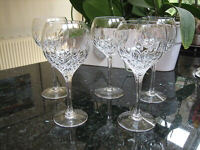 "Stuart Crystal Manhattan Wine Glasses 7 1/4"" tall x 5 Unsigned Sparkling Lovely"