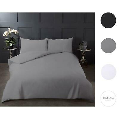 Highams 100% Cotton COMPLETE Duvet Cover and Pillowcase Fitted Sheet Bedding Set