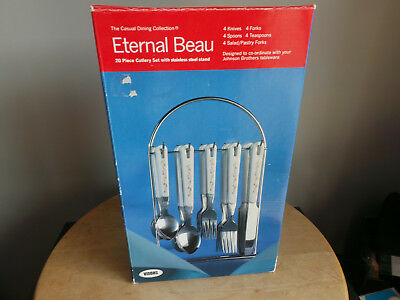 Viners 20 Piece Johnson Brothers Eternal Beau Cutlery Set New & Boxed With Stand