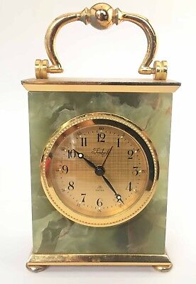 Vintage Imhof Carriage Desk Clock 8 Day 15 jewels Green Onyx Working