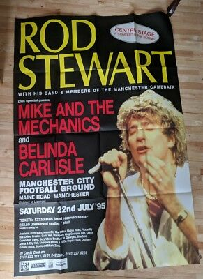 Rod Stewart 1995 Original Concert Poster Maine Road Manchester 60 x 40 inches