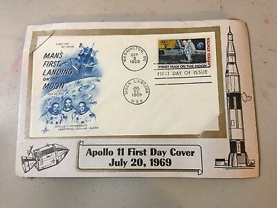 APOLLO 11 FIRST Man on the Moon Landing Dual Postmarks US Stamp First Day  Cover